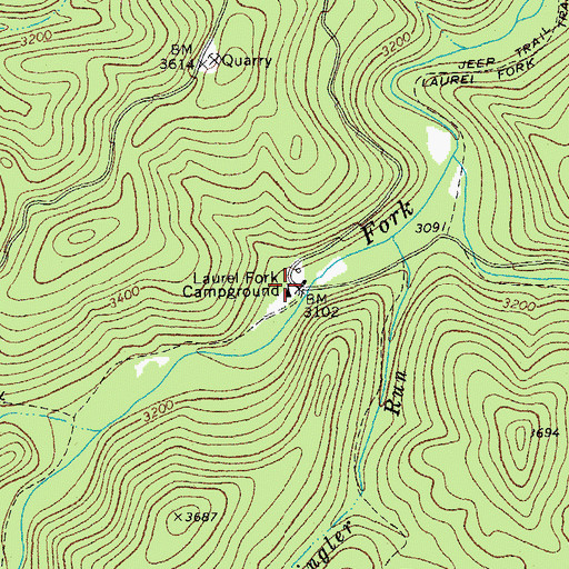 Topographic Map of Laurel Fork Campground, WV