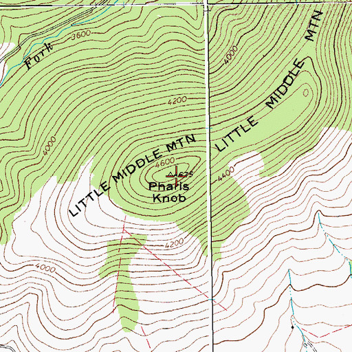Topographic Map of Pharis Knob, WV