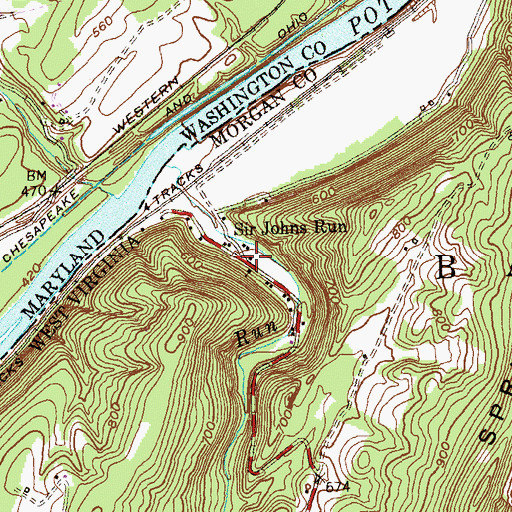 Topographic Map of Sir Johns Run, WV