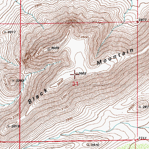 Topographic Map of Black Mountain, AZ