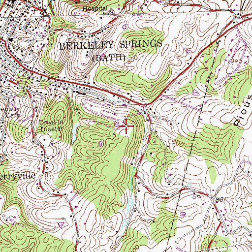 Topographic Map of WCST-AM (Berkeley Springs), WV