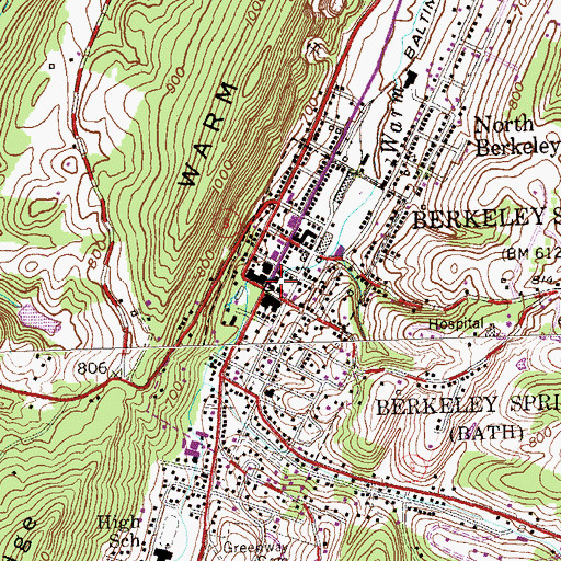 Topographic Map of Berkeley Springs, WV