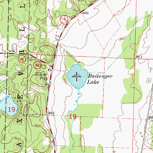 Topographic Map of Baitenger Lake, WI