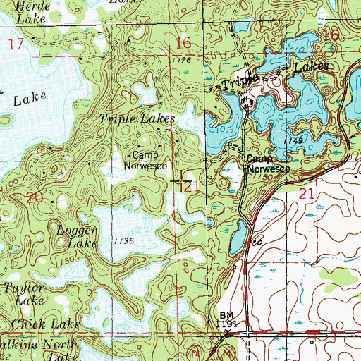 Topographic Map of Camp Norwesco, WI