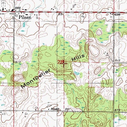 Topographic Map of Montpelier Hills, WI