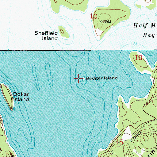 Topographic Map of Badger Island, WY