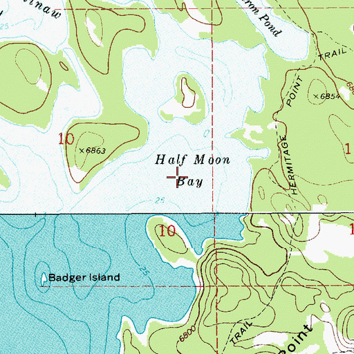 Topographic Map of Half Moon Bay, WY