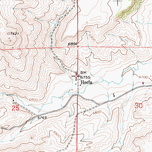 Topographic Map of Hecla, WY
