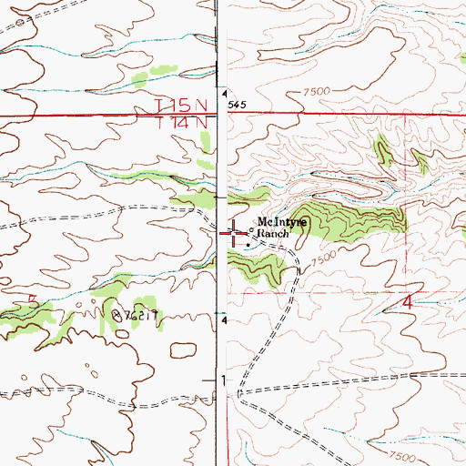 Topographic Map of McIntyre Ranch, WY