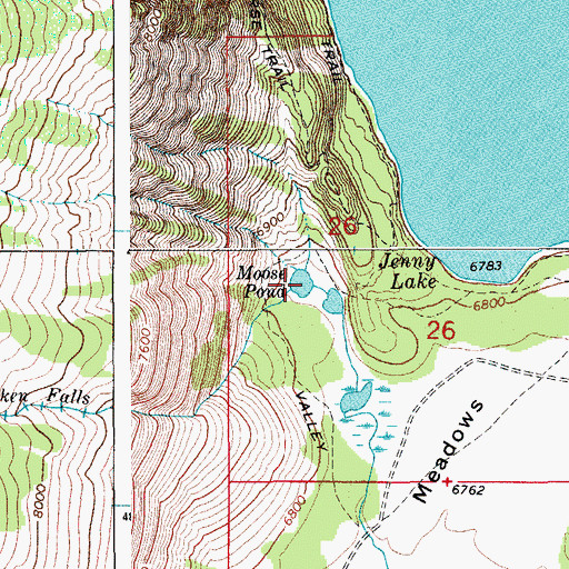 Topographic Map of Moose Pond, WY