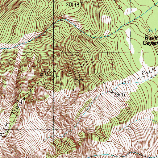 Topographic Map of Mount Sheridan Trail, WY