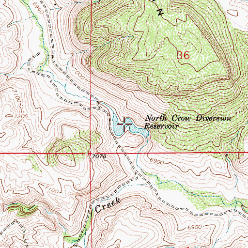 Topographic Map of North Crow Diversion Reservoir, WY