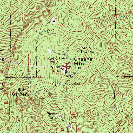Topographic Map of Cheaha Mountain, AL