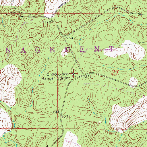Topographic Map of Choccolocco Ranger Station, AL