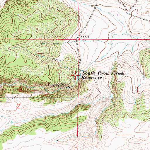 Topographic Map of South Crow Creek Reservoir, WY