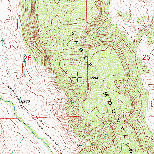 Topographic Map of Table Mountain, WY