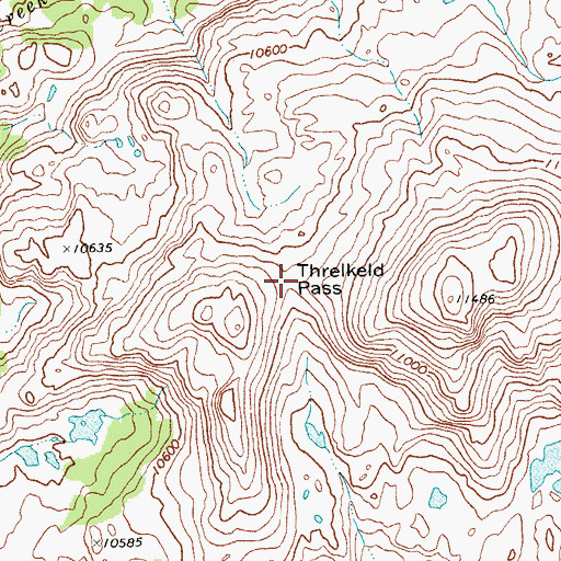 Topographic Map of Threlkeld Pass, WY