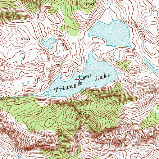 Topographic Map of Triangle Lake, WY