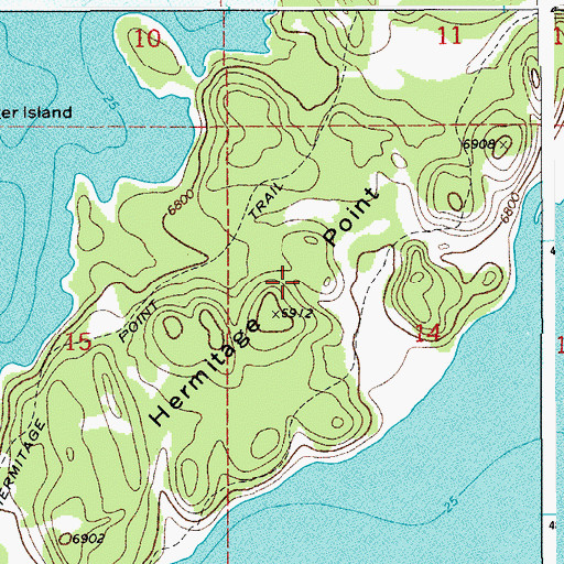 Topographic Map of Hermitage Point, WY