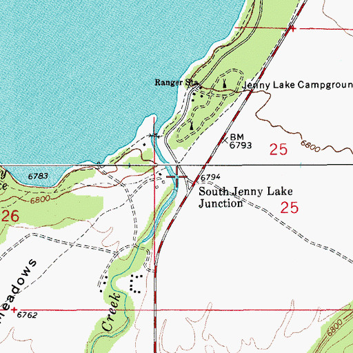 Topographic Map of South Jenny Lake Junction, WY