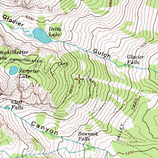 Topographic Map of Amphitheater Lake Trail, WY