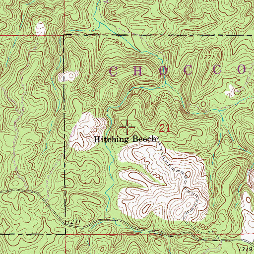 Topographic Map of Hitching Beech, AL
