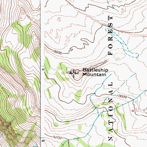 Topographic Map of Battleship Mountain, WY