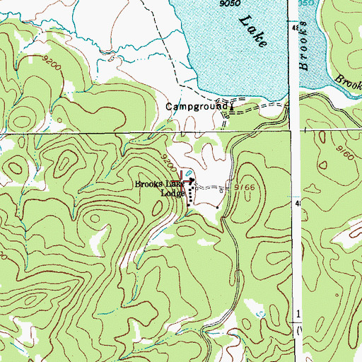 Topographic Map of Brooks Lake Lodge, WY