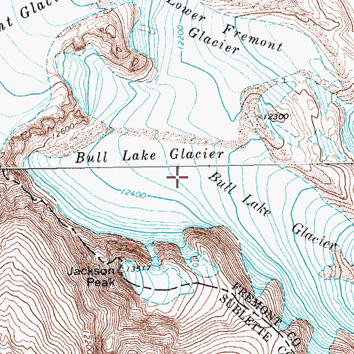 Topographic Map of Bull Lake Glacier, WY