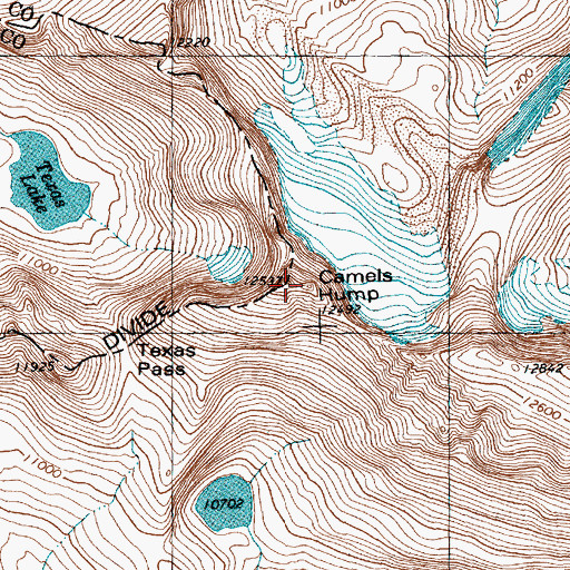 Topographic Map of Camels Hump, WY