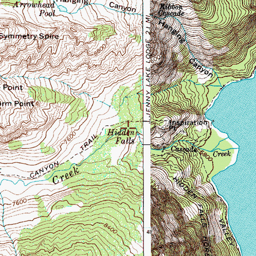 Topographic Map of Cascade Canyon, WY