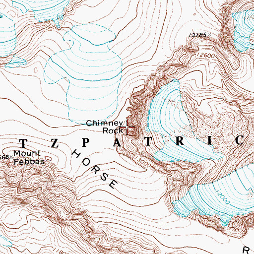 Topographic Map of Chimney Rock, WY