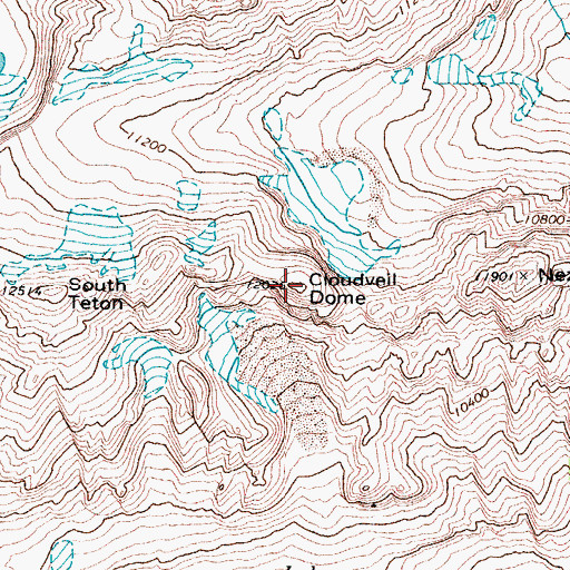 Topographic Map of Cloudveil Dome, WY