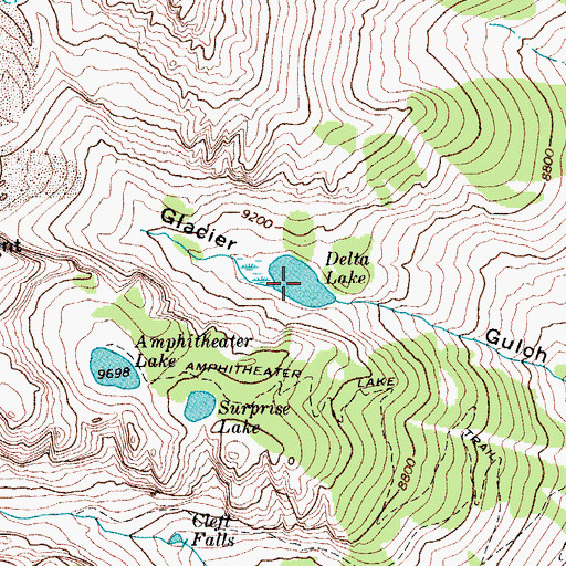 Topographic Map of Delta Lake, WY