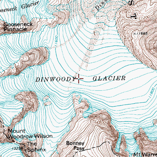 Topographic Map of Dinwoody Glacier, WY