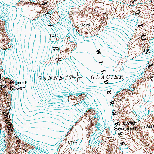 Topographic Map of Gannett Glacier, WY