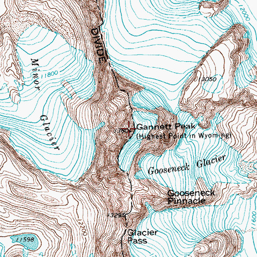 Topographic Map of Gannett Peak, WY