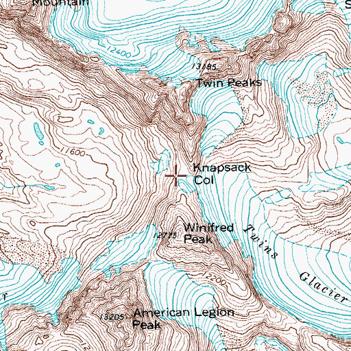 Topographic Map of Knapsack Col, WY