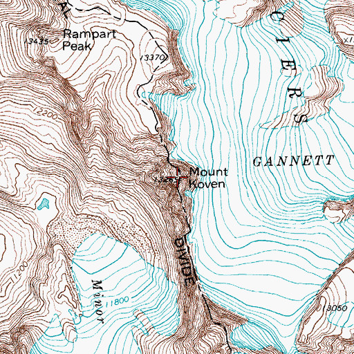 Topographic Map of Mount Koven, WY