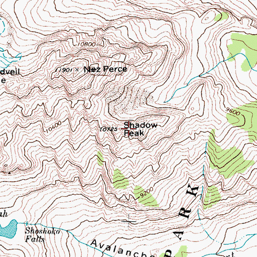 Topographic Map of Shadow Peak, WY