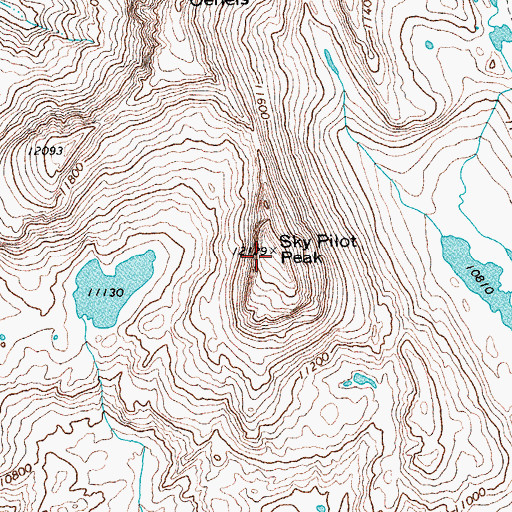 Topographic Map of Sky Pilot Peak, WY