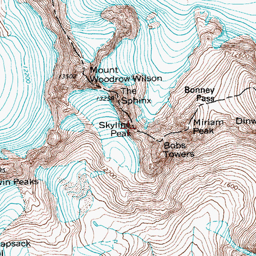 Topographic Map of Skyline Peak, WY