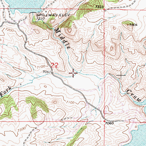 Topographic Map of South Fork Middle Crow Creek, WY