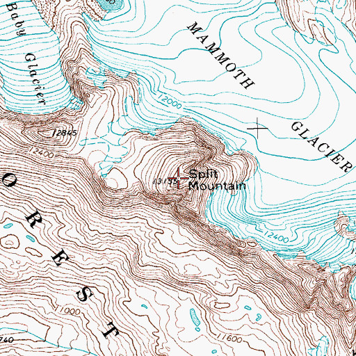 Topographic Map of Split Mountain, WY
