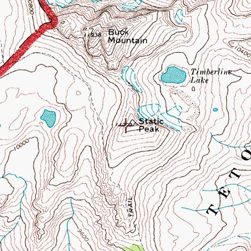 Topographic Map of Static Peak, WY