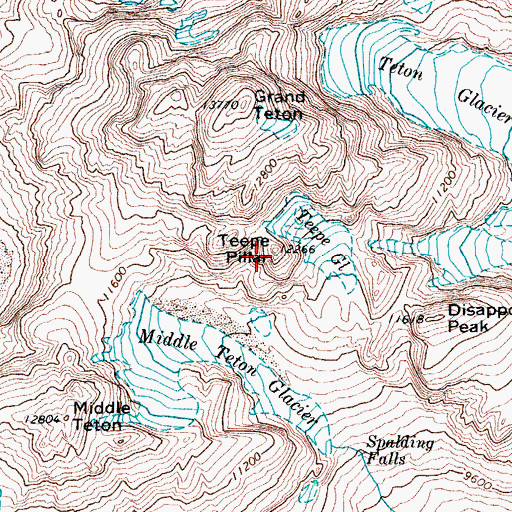 Topographic Map of Teepe Pillar, WY