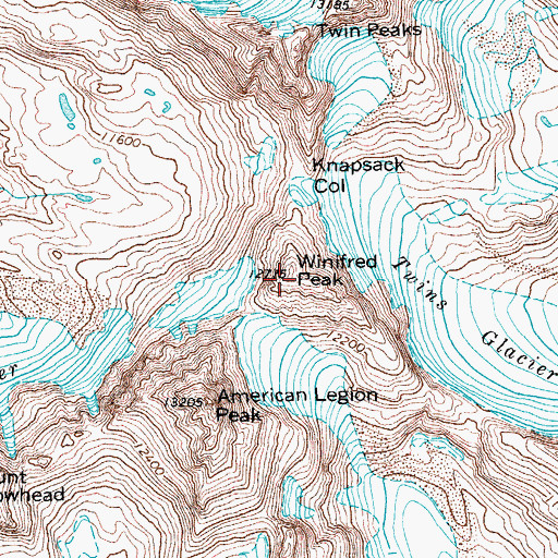 Topographic Map of Winifred Peak, WY