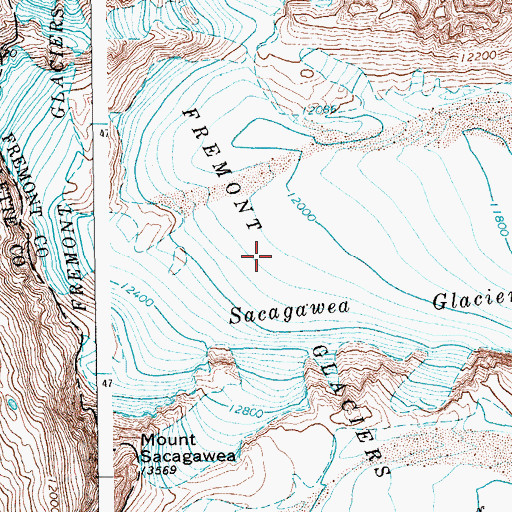 Topographic Map of Fremont Glaciers, WY