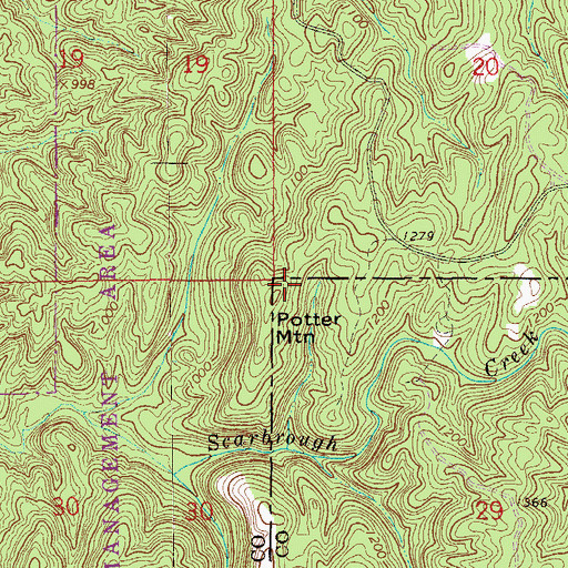 Topographic Map of Potter Mountain, AL