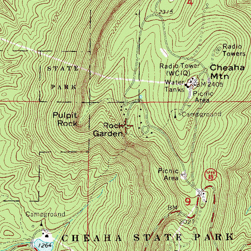 Topographic Map of Rock Garden, AL